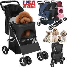 Pet Stroller Large Dog Cat 4 Wheels Folding Jogger Walk Easy Carrier Cart Safe