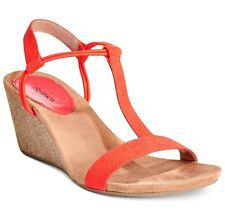 STYLE & CO. MULAN WEDGE SANDALS IN BRIGHT CORAL SIZE 9.5 NIB