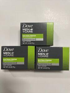 3-Dove Men + Care Extra Fresh Body And Face Bar Soap 3, 2.6 oz Bars