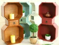 Cube Wall Drawer Storage Shelves Shabby Wood Octagonal Decor Shelving Bookcase