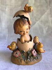 """Vtg Anri Ferrandiz Wood Carving Spring Arrival 5.5"""" Italy Girl Egg Chicks Easter"""