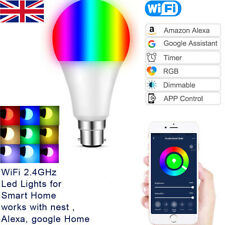 1/2x Wifi Smart LED Light Bulbs B22 10W Remote Control Amazon Alexa&Google Home