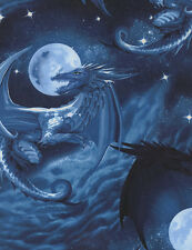 "Animal Fabric - Fantasy Medieval Dragon Blue - Timeless Treasures 32"""