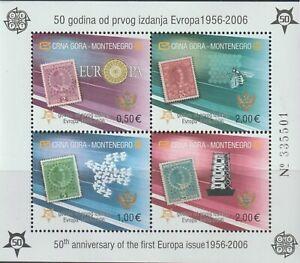 Montenegro 2006 Souvenir Sheet #129E Europa Stamps, 50th Anniversary - MNH Imp.