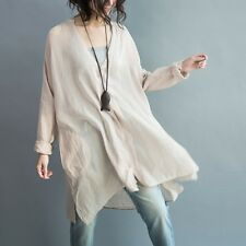 Lady Linen Longling Shirt Loose Oversized V Neck Blouse Jumper Boyfriend Style