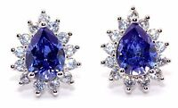 Sterling Silver Tanzanite And Diamond 2.98ct Stud Earrings (925)