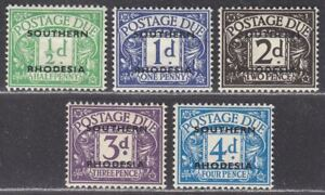 Southern Rhodesia 1951 KGVI Postage Due Overprint Set to 4d Mint SG D1-D5 cat£10