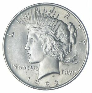 Choice AU/UNC 1922 Peace Silver Dollar - 90% Silver *953