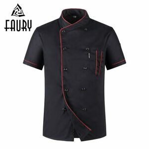 Unisex Casual Soft Chef Jackets Short Sleeve Oblique Collar Double Breasted