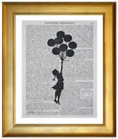 BANKSY BALLOON GIRL ART PRINT ON OLD ANTIQUE DICTIONARY ENCYCLOPAEDIA PAGE