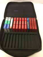 24 Cassette Tape Storage Case Bag with 12 blank Maxell and TDK audio tapes