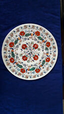 12'' Marble Stylish Plate Restaurant Work Decorate Peacock Inlay Fine Art H4075A