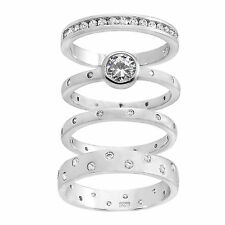 18K White Gold Sterling Silver CZ 4 Piece Pave Design Circle Bezel Rings Size 6