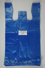 "100 Qty. Blue 11.5"" x 6"" x 21"" Plastic T-Shirt Bags w/ Handles Retail Shopping"