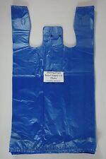 100 Qty Blue 115 X 6 X 21 Plastic T Shirt Bags With Handles Retail Shopping