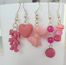 5 paires BOUCLES OREILLES en FIMO Breloques Roses Idée Cadeau St valentin Amour