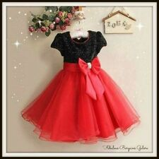 fac02d2235fa New Red Black Sparkly Sequin Girls Dress Birthday Christmas Party Kids  Clothes