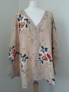 Beige & Floral Print Kaftan Top * Crochet Lace Trim * Sz M