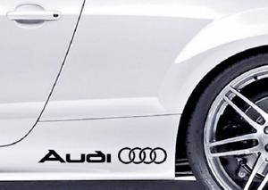 2 x Audi & Rings, Side, Skirting, A1, A3, A5, Q5, Q7, Q8, TT, Decal, Stickers.