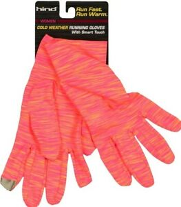 Hind Women's Cold Weather Running Gloves With smart touch Size S/M Coral Bright