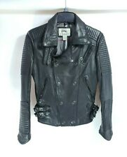 Burberry  London Prorsum Black Biker Leather Jacket Size L