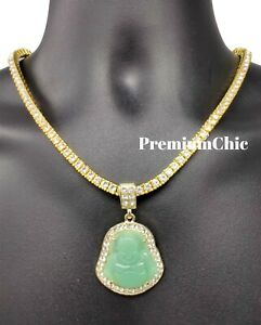 ICED Buddha Pendant + Tennis Chain or Rope Chain Necklace Men Fashion Jewelry