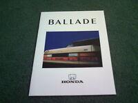 1987 HONDA BALLADE Civic EX & EXi 4 Door SALOON UK BROCHURE Riccardo Emiliani