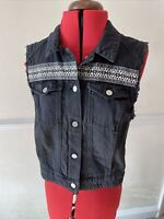 Distressed Denim Waistcoat Size 14 H&M Divided Black Hipster Detail Sleeveless