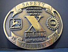 1993 John Deere Harvester Works Building X UAW Brass Belt Buckle Ltd Ed 24/1000