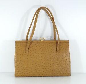 EROS Vintage 70s Tan REAL LEATHER Ladies Handbag size Small Medium