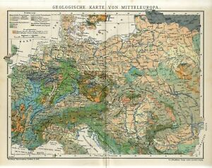 1907 GEOLOGICAL MAP of CENTRAL EUROPE GEOLOGY GERMANY RUSSIA Antique Map dated