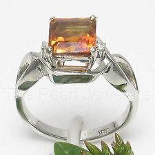 18k White Solid Gold Genuine Diamonds & 7x7mm Square Citrine Solitaire Ring TPJ