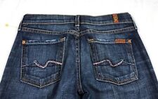 7 for all mankind low boot cut pink jewel pockets blue denim stretch jeans 26