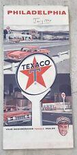 "Vintage Antique 1965 Texaco Map Of Philadelphia Folding 36""x23"""