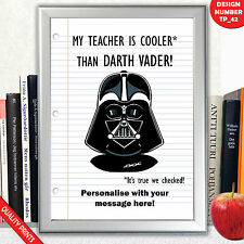 PERSONALISED STAR WARS FUNNY TEACHER GIFT A4 PRINT POSTER KEEPSAKE
