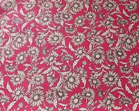 Red Floral Fabric with Large Beige Flowers 100% Cotton 3 Metre Piece - Free Post