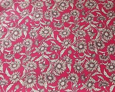 Red Floral Fabric with Large Beige Flowers - 100% Cotton - By the Half Metre