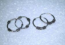 2 pair 925 Sterling Silver 14mm Bali Hoop Round Earrings New EBE233