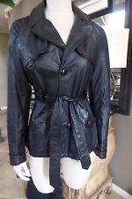 DIESEL Black Belted 100% Leather Short trench Jacket M