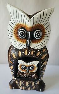 Wooden Owl With Baby.