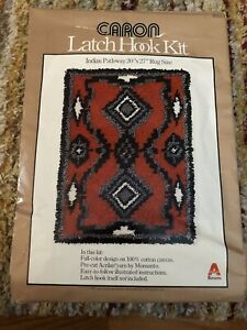 "Vintage 1977 Caron Indian Pathway Latch Hook Canvas Pattern 27"" x 20"""