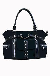Women's Black Gothic Punk Emo Rockabilly Handcuff Handbag Bag BANNED Apparel