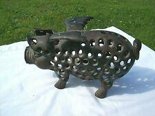 More details for ** vintage cast iron pig lantern candle holder / door stop **