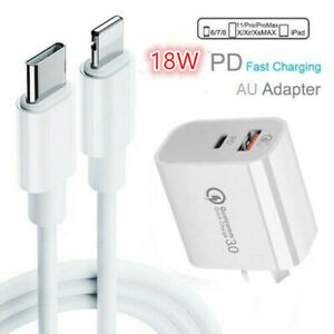 Genuine PD 18W Charging Type-C to Lightning Cable Wall Charger For iPhone 12 11