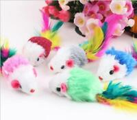 5 Pcs Cat Toy Mouse Feather Tail Rattle Furry Plush Fur Kitten Pet Chasing Mice