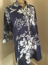 SOFT SURROUNDINGS Beaded Floral Tunic Top Cover Up Dress Pockets Blue SMALL
