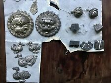 14 Antique Silver CHINESE Ornaments Hat Decorations DRAGONS DUCKS Bells Locks