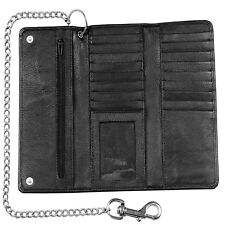 Genuine Cowhide Leather Trifold Long Metal Chain Motorcycle Biker Trucker Wallet