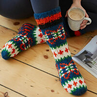 Hand Knitted Alpine Woollen Lounge Bed Winter Socks - 7 Colours - 100% Wool