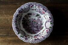 Grande bassine en faience polychrome anglaise décor de chasse violet